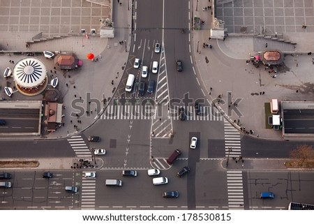 Road intersection from above - stock photo