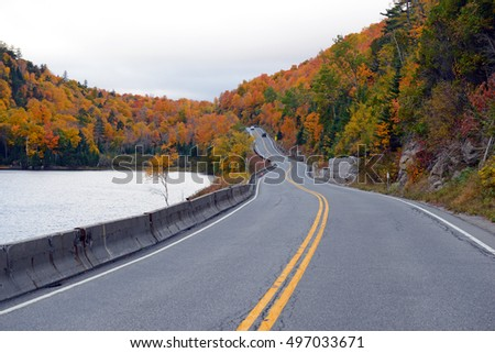 Road into the mountains with Autumn foliage with red, orange and yellow fall colors in A Northeast forest