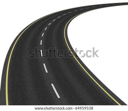 Road isolated on white - stock photo