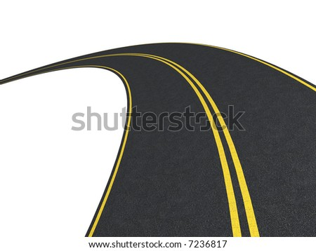 Road. Isolated on white - stock photo