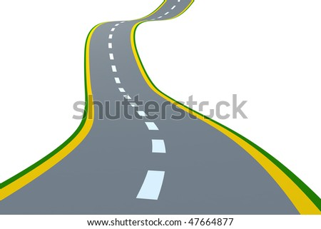 Road. Isolated on white. 3d abstract render - stock photo