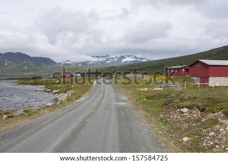 Road Jotunheimvegen (Jotunheimen National Park, Norway) - stock photo