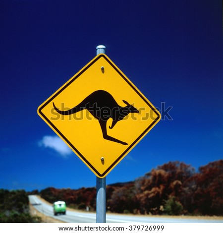 Road Kangaroo warning sign, Australia.