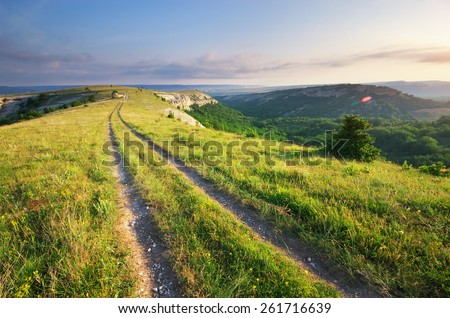 Road lane and deep blue sky. Nature design. - stock photo