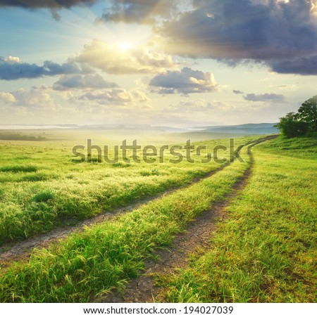 Road lane and deep sky. Nature design.  - stock photo