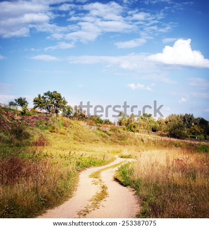 Road lane and deep sky. Nature landscape - stock photo