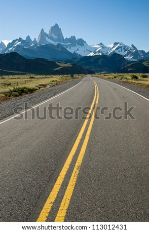 Road leading to Fitz Roy mountain in Patagonia South America - stock photo