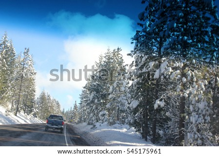 Road leading to McArthur-Burney National Park, California, with snow covered pine trees and ground on Christmas day, providing real Christmas experience.