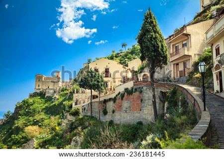 road leading to the Church of St. Nicolo in Savoca, small village near Taormina, Sicily, Italy - stock photo
