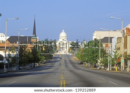 Road leading to the State Capitol of Alabama, Montgomery, Alabama - stock photo
