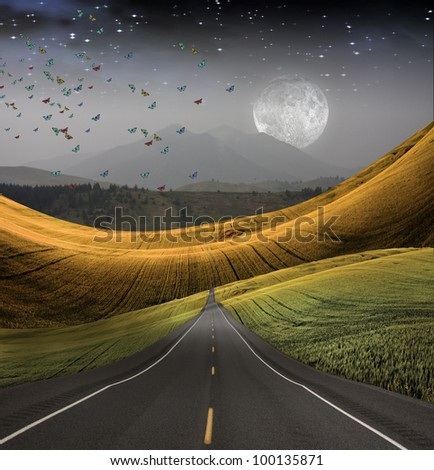 Road leads into distance - stock photo