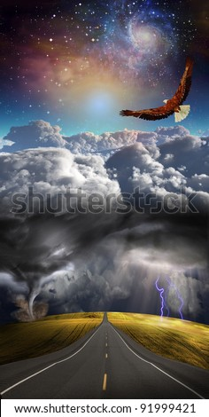 Road leads into distance with storm - stock photo