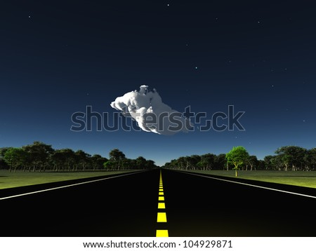 Road leads into horizon with cloud - stock photo