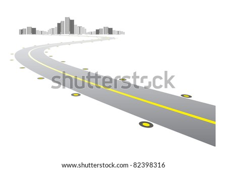 road leads to city on white background - stock photo