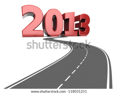 Road life with number 2013, success concept - stock photo