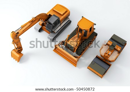 Road machinery on grey background. Top view - stock photo