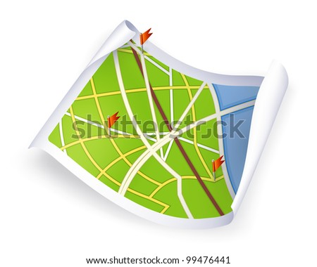 Road Map, bitmap copy - stock photo