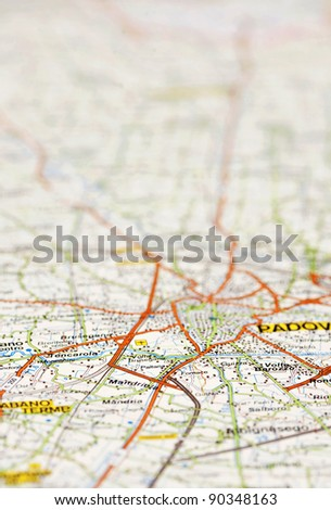 road map with selective focus - stock photo