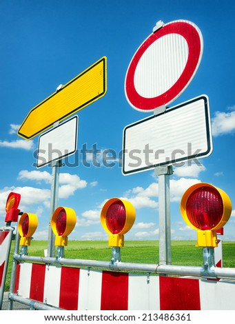 road marker at a construction site - stock photo