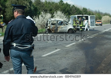 road mortal accident in romea nord Ravenna- ITALY