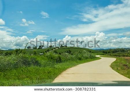 Road, mountain landscape. - stock photo