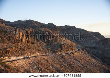 Road Moutain with Truck - stock photo