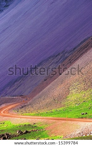 Road n°1 around Iceland, east coast - stock photo