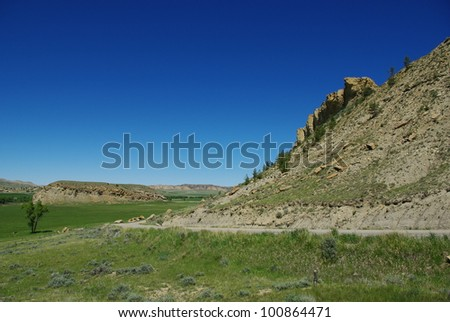Road near Sunshine Reservoir, Wyoming - stock photo