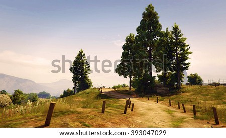 Road next to hiking trails 3D illustration
