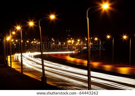 Road  night   city - stock photo