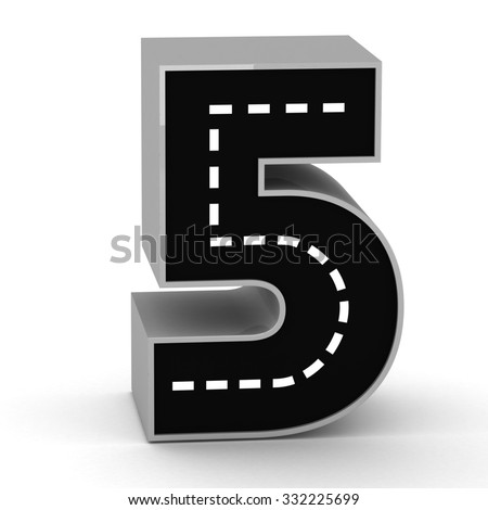 Road Number 3d render five 5 - stock photo