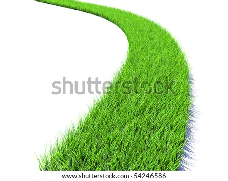 Road of bright green grass - stock photo