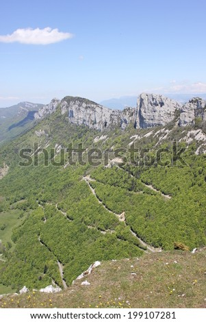Road of Tourniol pass, in Vercors mountain near Leoncel village, Drome, France - stock photo