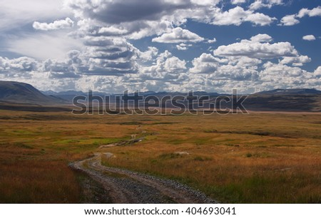 Road on a highland mountain plateau with orange grass at the background of the wide valley under a blue sky with white clouds, Plateau Ukok, Altai mountains, Siberia, Russia - stock photo