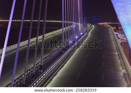 road  on bridge night