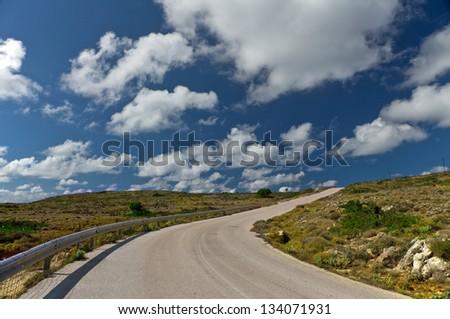 road on Kefalonia island, Greece - stock photo