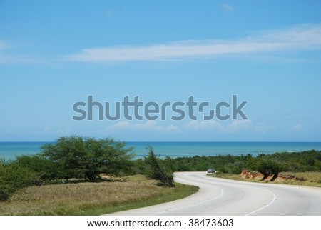 Road on the island - stock photo