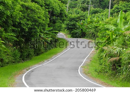 road on the mountains in Thailand - stock photo
