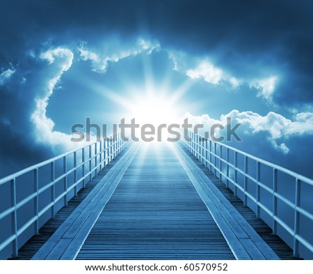 Road on the sky - stock photo