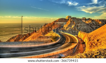 Road on top of Jabel Hafeet mountain in UAE