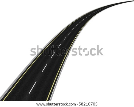 Road on white - stock photo