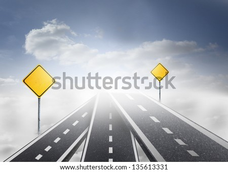 Road over clouds with road signs on it with bright blue sky