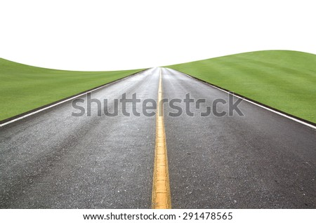 Road pastures Isolated on white background abstract. - stock photo