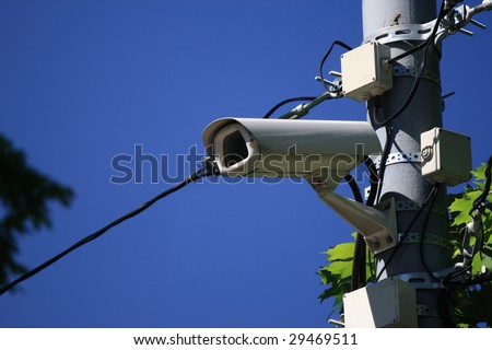 road police supervision outdoor video camera - stock photo