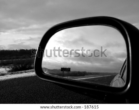 Road rear view b/w - stock photo