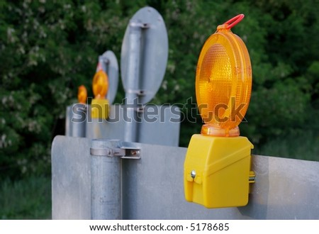Road redirection due to construction work - stock photo