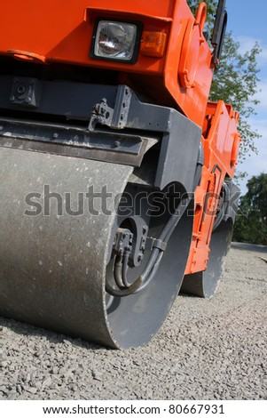 Road roller closeup - stock photo