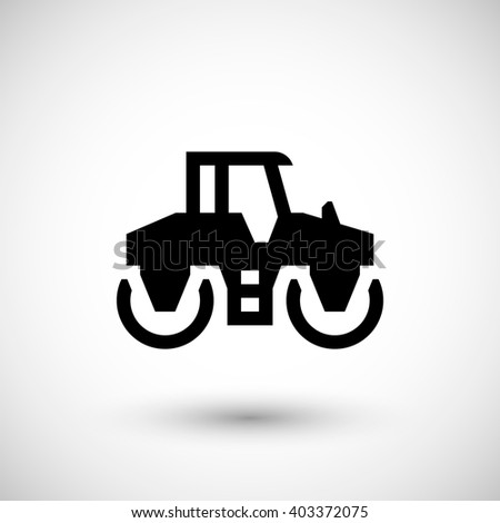Road roller icon isolated on grey - stock photo