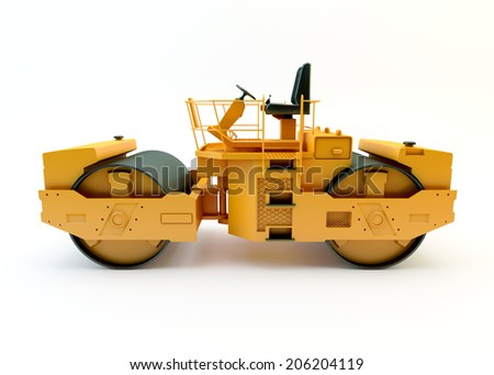 Road roller isolated on white background  - stock photo