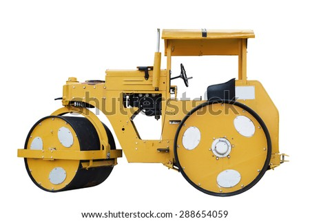 Road roller isolated on white background with clipping path - stock photo